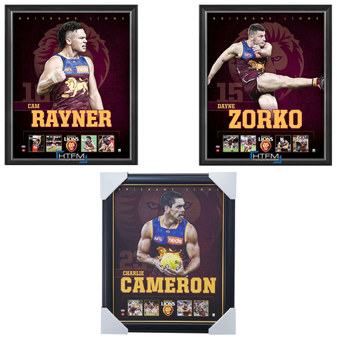 Brisbane Lions Package Official Licensed AFL Prints Framed Zorko Rayner Cameron - 4454