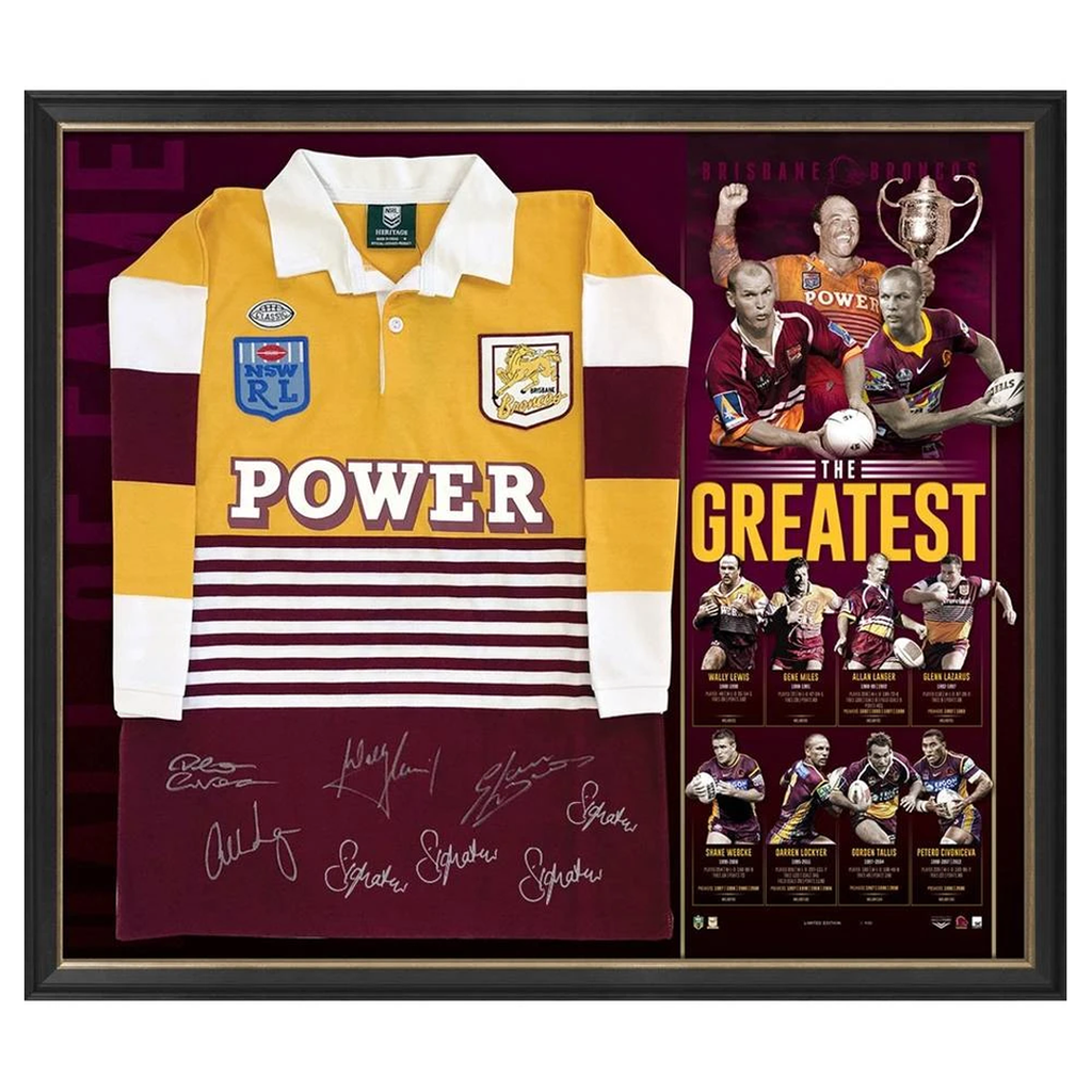 Brisbane Broncos Signed the Greatest Official Nrl Jersey Framed Lewis Lockyer Langer Tallis - 3566