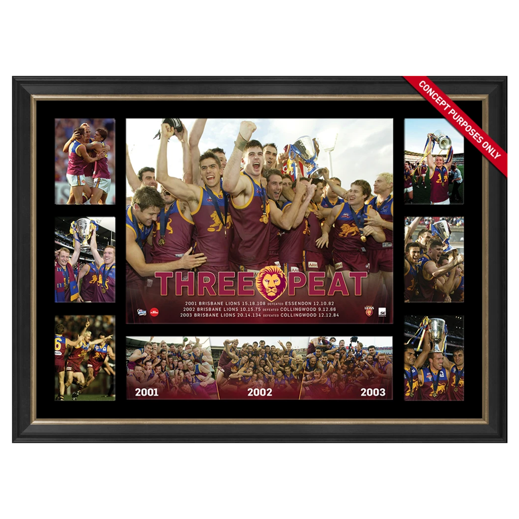 Brisbane Lions 2001-2003 Three Peat AFL Premiership Glory AFL L/E Print Framed - 2851