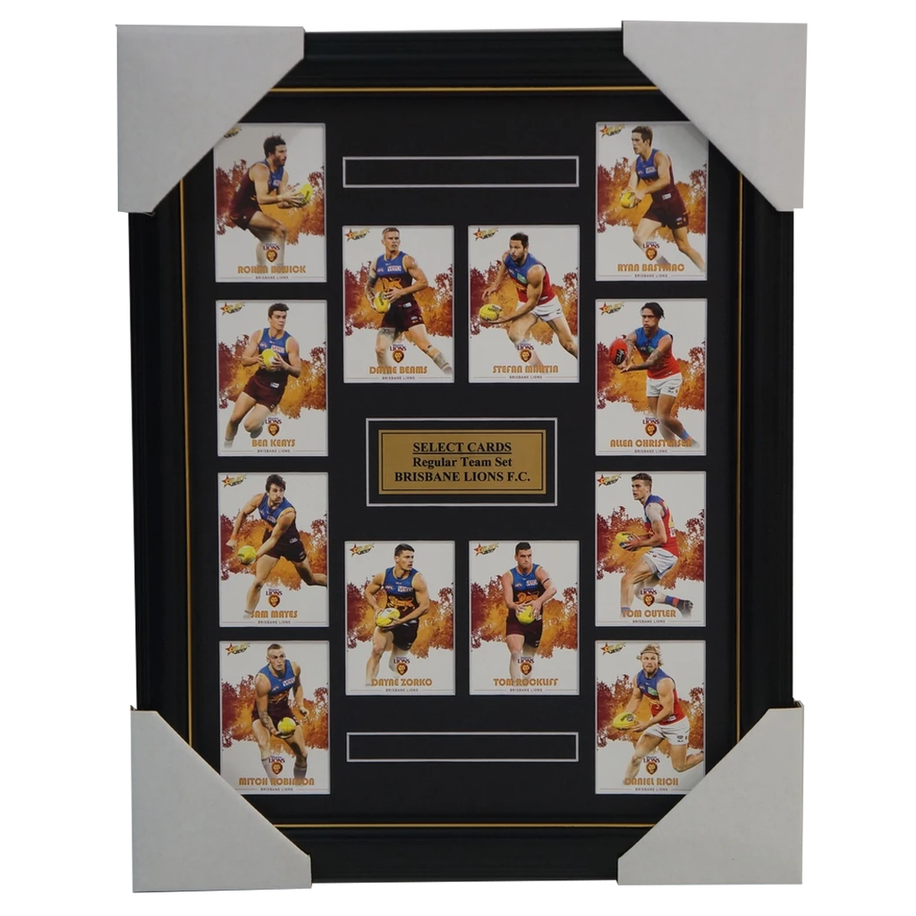 Brisbane Lions 2017 Select Card Team Set Framed Tom Rockliff, Dayne Zorko Beams - 3049