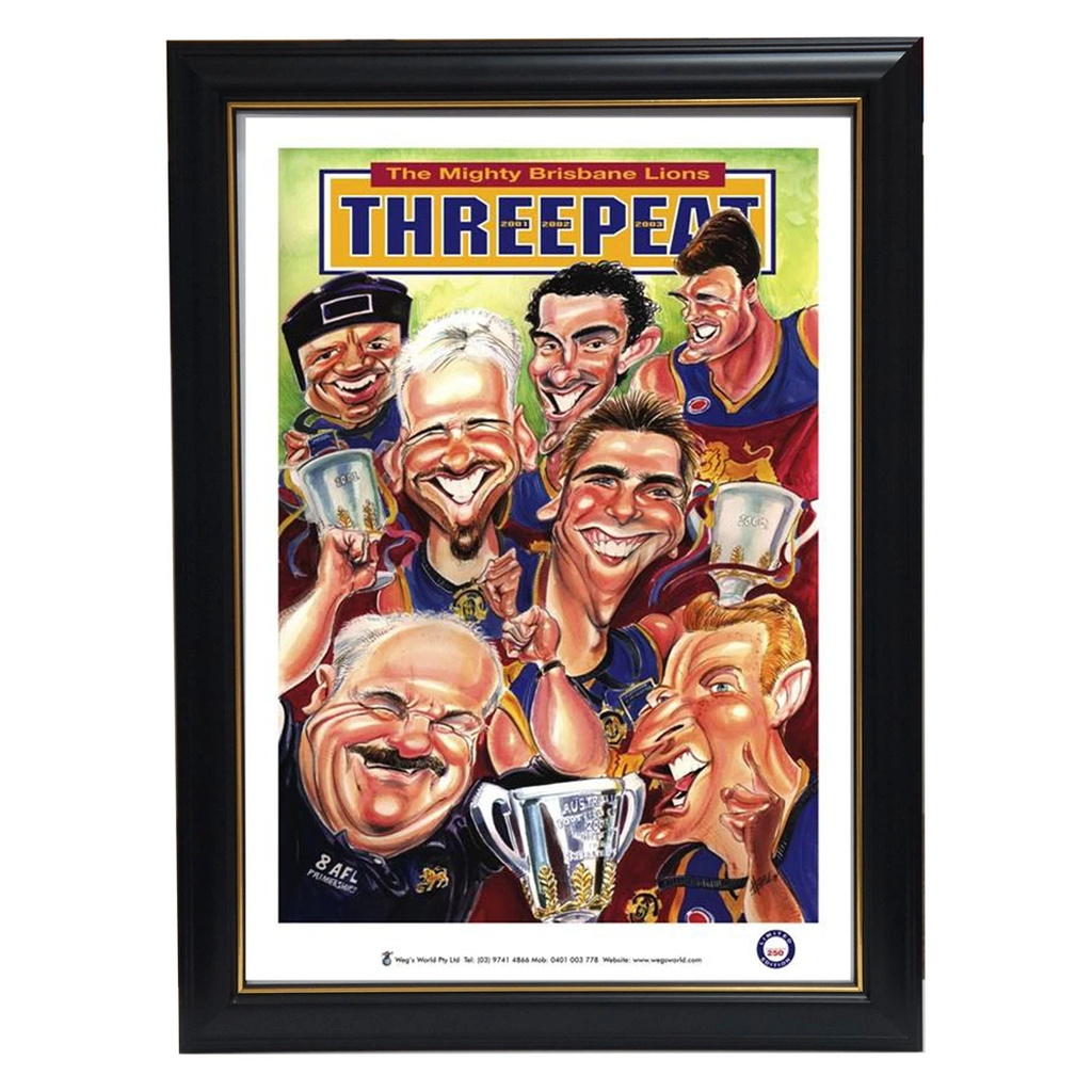 Brisbane Lions 3-Peat AFL Premiers Harv Time Limited Edition Print Framed - 3607