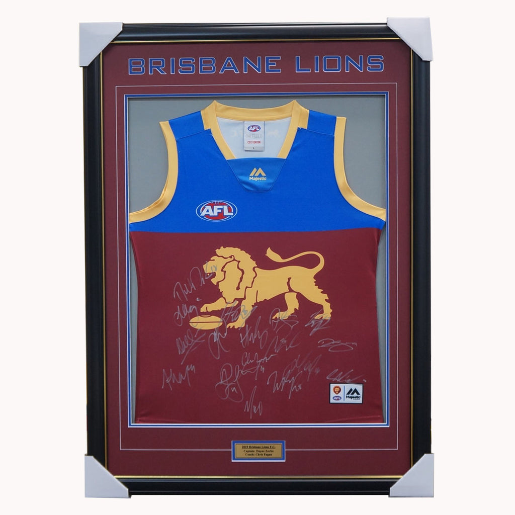 Brisbane Lions 2019 Signed AFL Team Jumper Framed Hodge Neale Zorko + COA - 3883