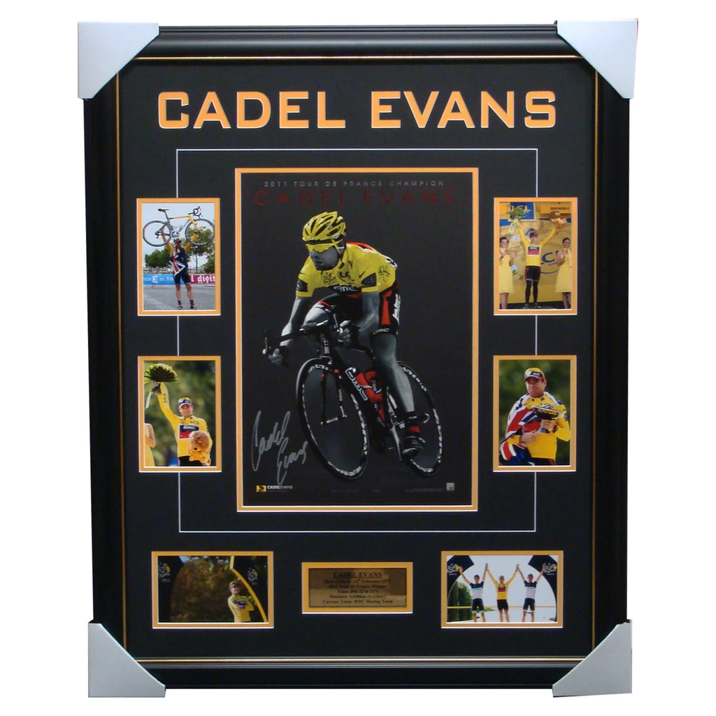 Cadel Evans Signed Yellow Tour De France Signed Collage Framed - 1365