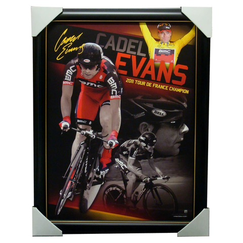 Cadel Evans Tour De France Official Poster Facsimile Signed Framed - 3538