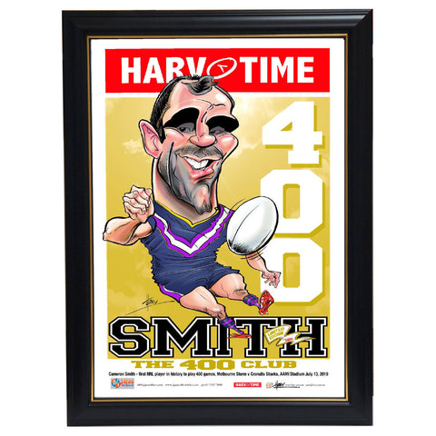 Cameron Smith 400 Game Melbourne Storm NRL L/E Harv Time Print Framed - 3732