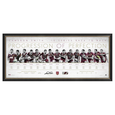 Cameron Smith Queensland Maroons State of Origin Signed Progression of Perfection Print Framed - 3950