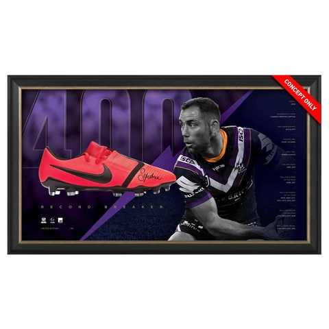 Cameron Smith Signed Melbourne Storm 400 Game L/E Official NRL Boot Box Framed - 3726