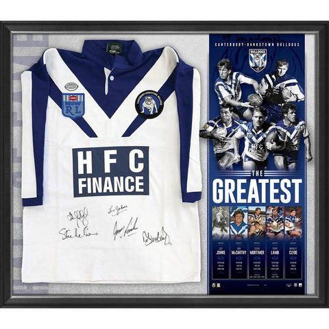 Canterbury Bankstown Signed Official Nrl the Greatest Jersey Framed - 4332