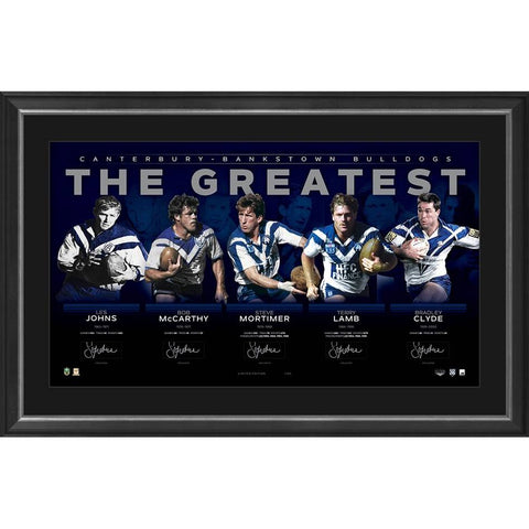 Canterbury Bulldogs Signed Official Nrl Greatest Lithograph Framed - 4330