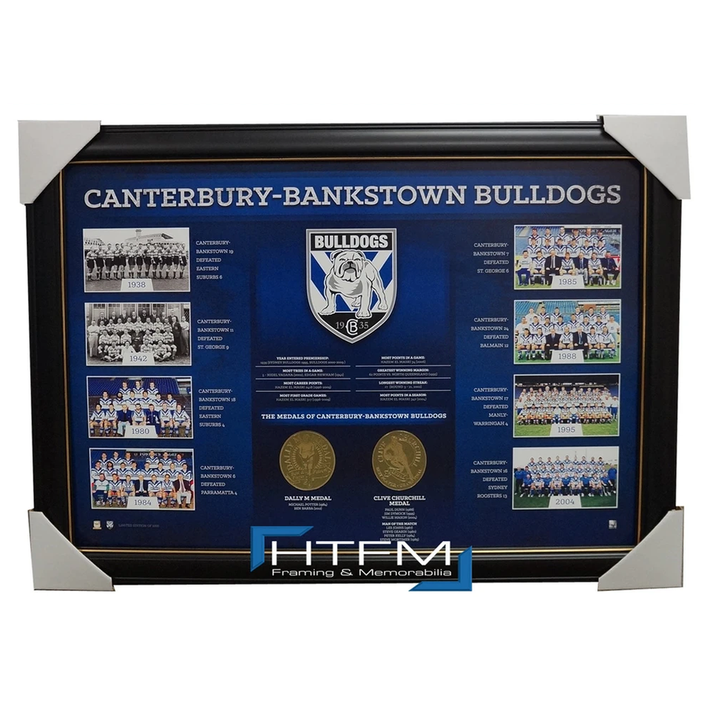 Canterbury Bulldogs the Historical Series Montage Print Framed Official Nrl - 1839