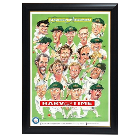 Captains of Australia Cricket, Harv Time Print Framed - 4267