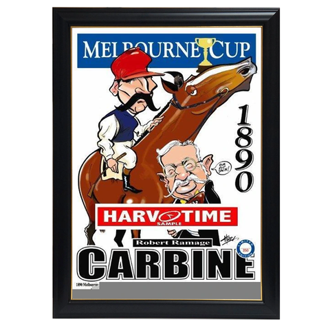 Carbine, 1890 Melbourne Cup, Harv Time Print Framed - 4125