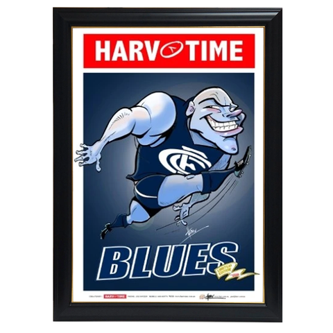 Carlton Blues, Mascot Harv Time Print Framed - 4216