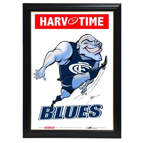 Carlton Blues, Mascot Print Harv Time Print Framed - 4178
