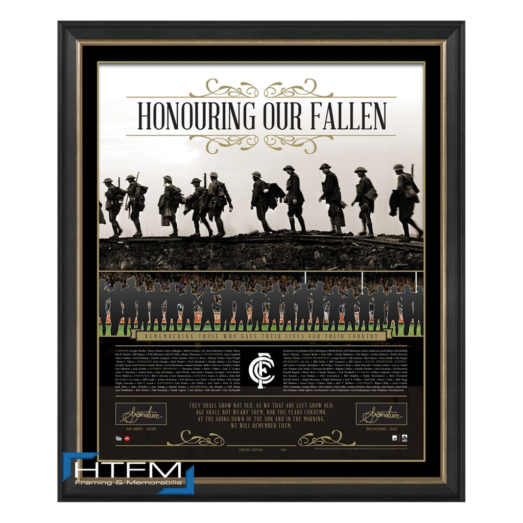 Carlton Honouring Our Fallen Anzac Signed Afl Print Framed Murphy & Malthouse - 1076