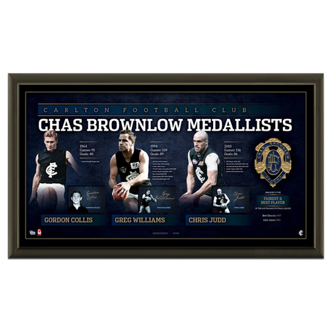 Carlton Signed CHAS Brownlow Lithograph OFFICIAL AFL Frame Collis Williams Judd - 2075