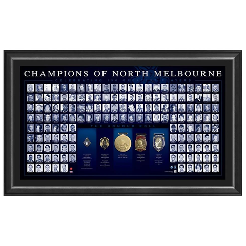 Champions of North Melbourne 150th Anniversary Honour Roll With Medallions Official Afl Framed - 3758