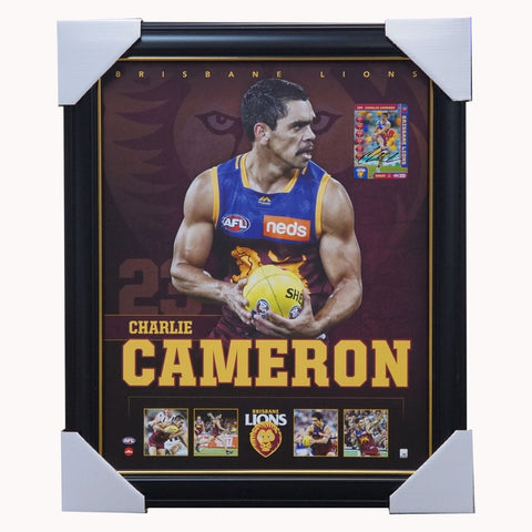 Charlie Cameron Brisbane Lions F.C. Official AFL Licensed Print Framed + Signed Card - 3878