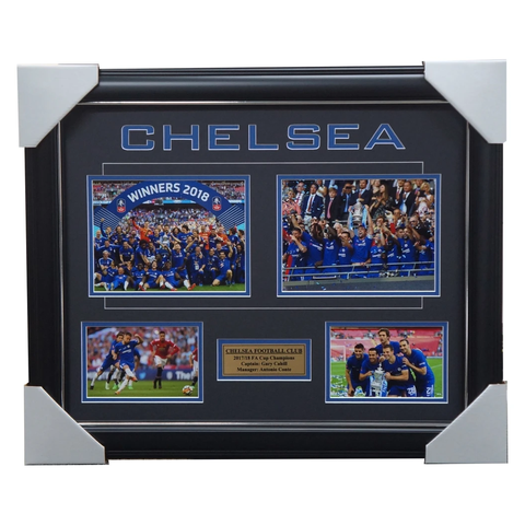 Chelsea 2018 FA Cup Champions Photo Collage framed with plaque - 3441