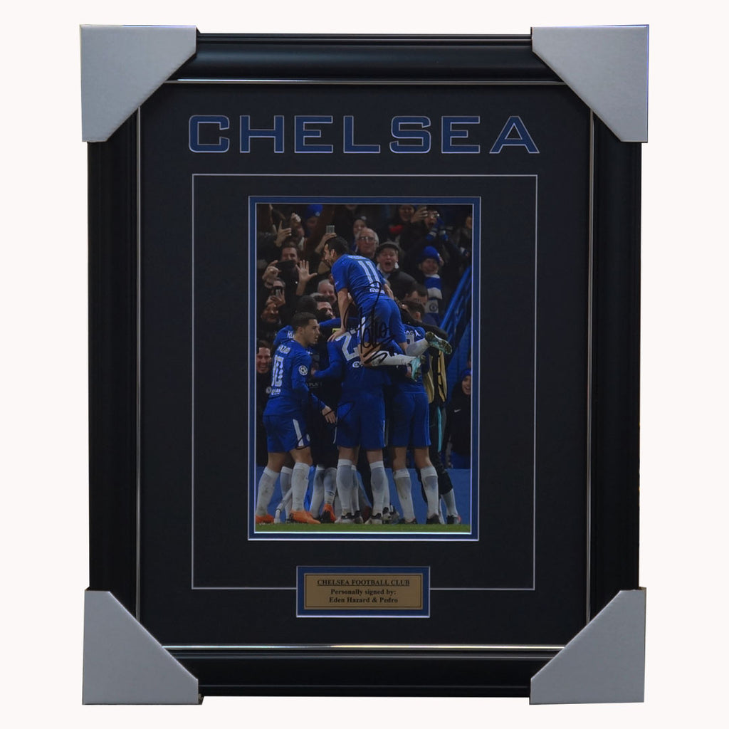 Chelsea Football Club Dual Signed Photo Framed Eden Hazard & Pedro - 3987