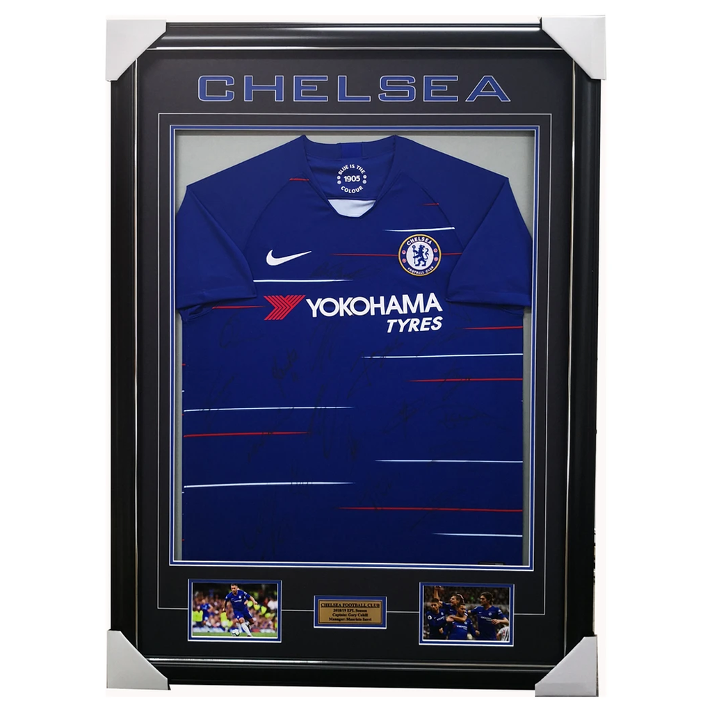 Chelsea Signed 2018/19 Team Signed Jersey Framed Pedro Luiz Cahill + Coa - 3545