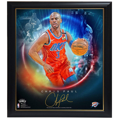 Chris Paul Oklahoma City Thunder Facsimile Signed Official NBA Print Framed - 4469