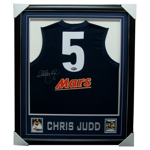Chris Judd Carlton Home 2010 Signed Jumper Framed with Cards - 3324