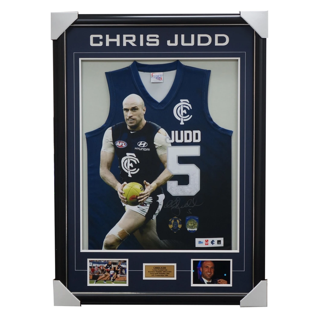 Chris Judd Signed Official Carlton Jumper Framed - 2010 Brownlow Medallist + COA - 2496