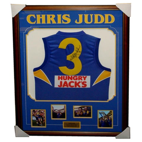 Chris Judd West Coast Eagles Away Signed Jumper Framed - 3084
