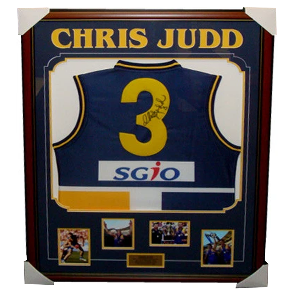 Chris Judd West Coast Home Signed Jumper Framed - 3334