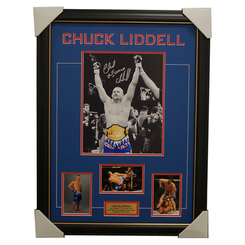 Chuck Liddell Hand Signed UFC Photo Collage Framed 100% Authentic - 1314