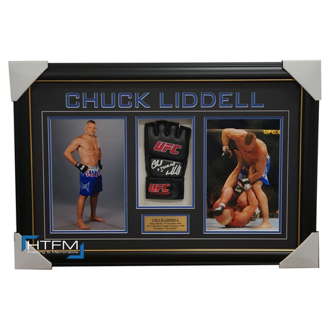 Chuck Liddell Signed UFC Glove Box Framed with Photos - 1166