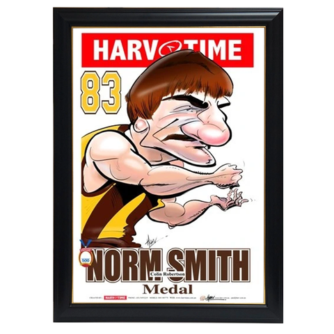 Colin Robertson, 1983 Norm Smith Medal, Harv Time Print Framed - 4300