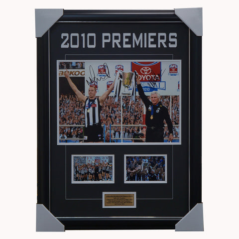 Collingwood 2010 Premiers Signed Collage Nick Maxwell & Mick Malthouse Framed - 4593