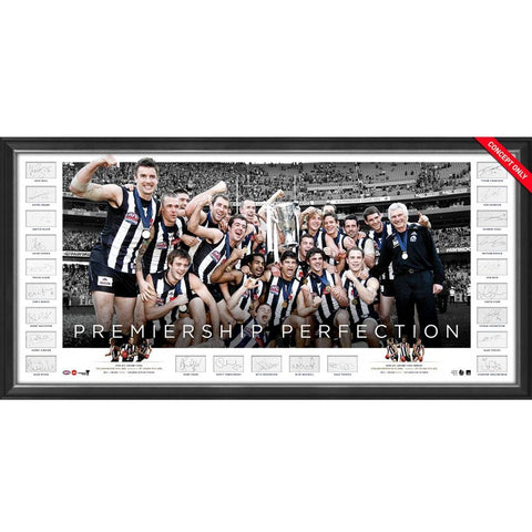 Collingwood 2010 Premiers Team Signed Official AFL Icon Series Print Framed - 4396