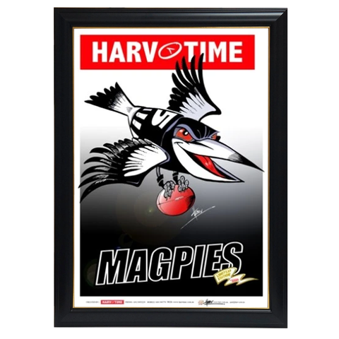 Collingwood Magpies, Mascot Harv Time Print Framed - 4222