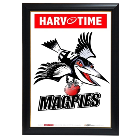 Collingwood Magpies, Mascot Print Harv Time Print Framed - 4177