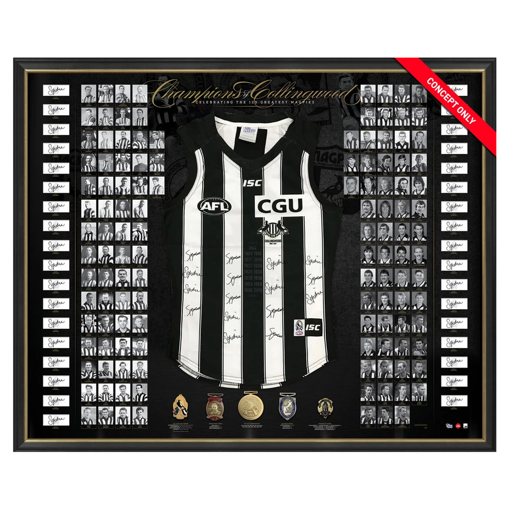 Collingwood Signed 125th Anniversary Official Afl Jumper Framed Richards Daicos - 3107