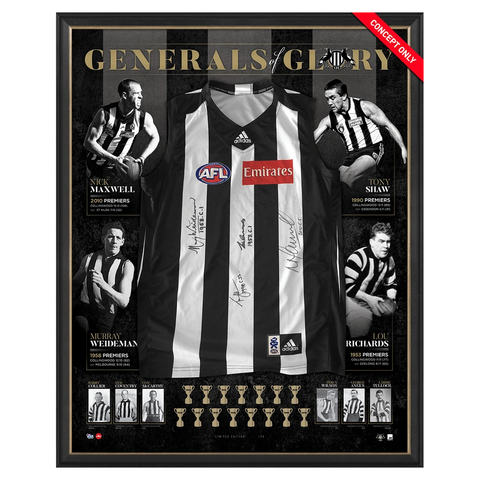 Collingwood Signed Premiership Captains Official AFl Generals of Glory Jumper Framed Shaw Richards Maxwell - 3138