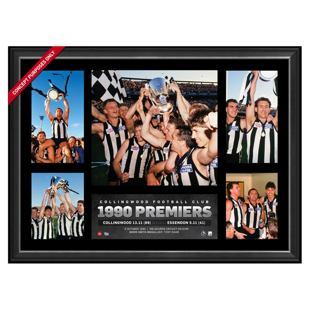 Collingwood 1990 Afl Premiership Glory Official Afl Photo Collage Framed Tony Shaw - 2846