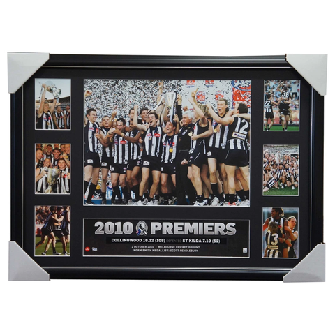 Collingwood 2010 AFL Premiership Glory Official AFL Photo Collage Framed Swan - 2847