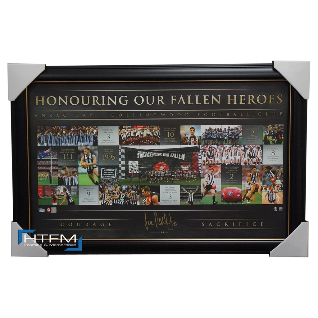 Collingwood 20 Years of Anzac Rivalry Limited Edition Signed Print Framed Pendlebury - 1805