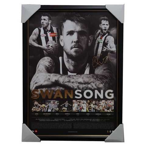 "Collingwood Dane Swan Signed ""Swansong"" Official Afl Retirement Print Framed Brownlow - 2937"