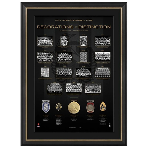 Collingwood Football Club AFL Decorations of Destinction with 5 Medals Framed - 3925