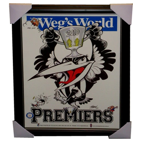 Collingwood Limited Edition Weg's World 2010 Premiers Print Framed - 3834