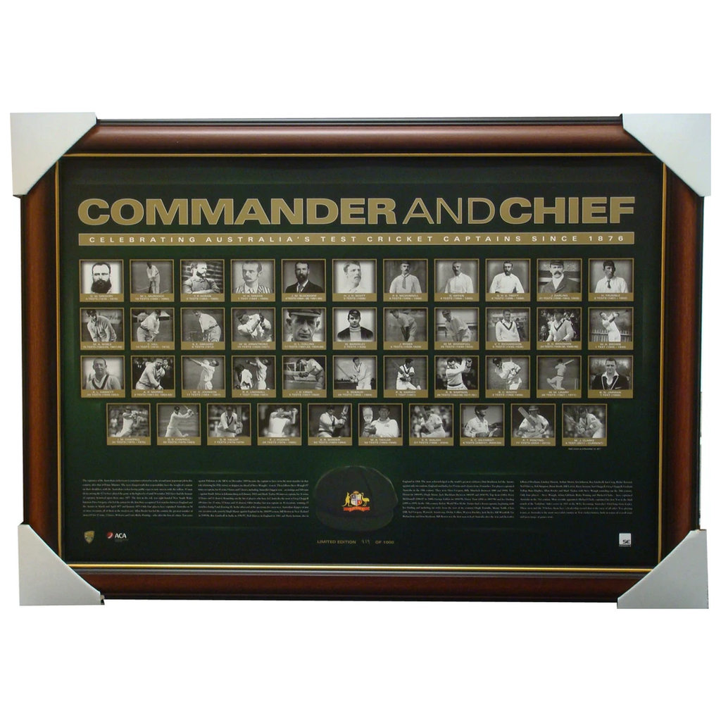 Commander and Chief Cricket Australias Test Captains L/E Print Framed - 1424