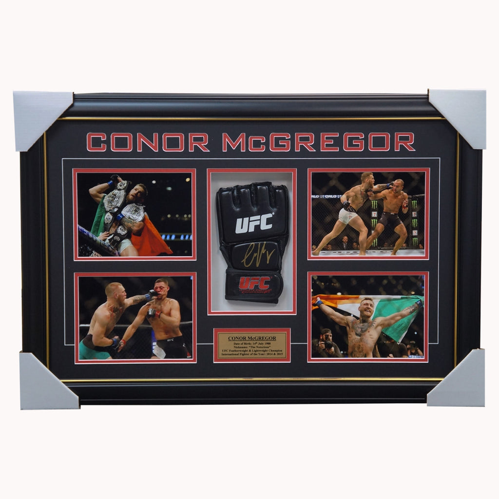 Conor McGregor Signed UFC Champion Glove Box Framed with Photos + COA - 3021