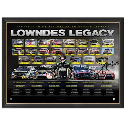 "Craig Lowndes Signed ""Lowndes Legacy"" Official V8 Triple Eight Retirement Print Framed SOLD OUT - 3522"
