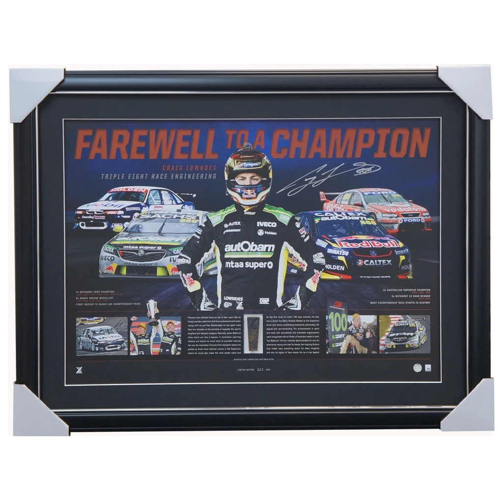 "Craig Lowndes Signed Official Triple Eight ""Farewell to a Legend"" Signed Print Framed in Stock  - 3525"