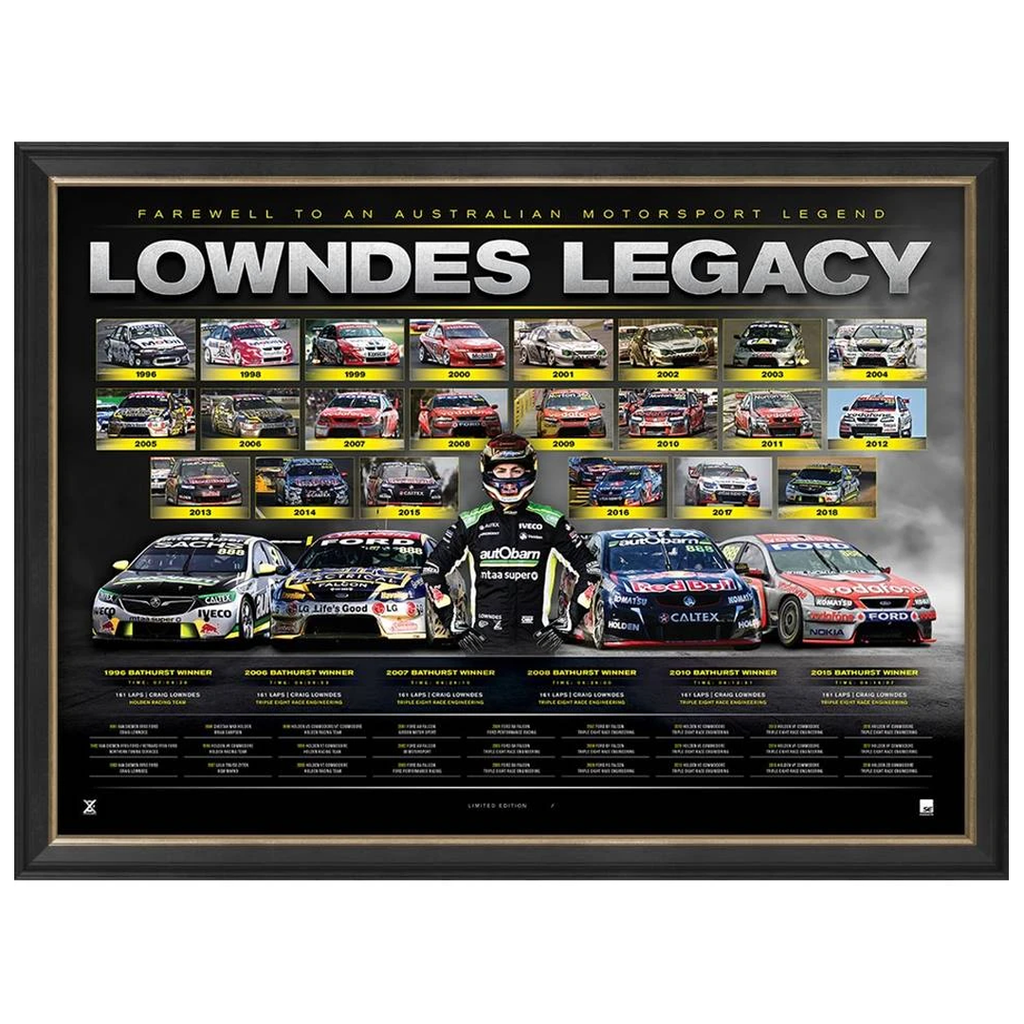 "Craig Lowndes Triple Eight Official V8 ""Lowndes Legacy"" Retirement Print Framed - 3524 IN STOCK"